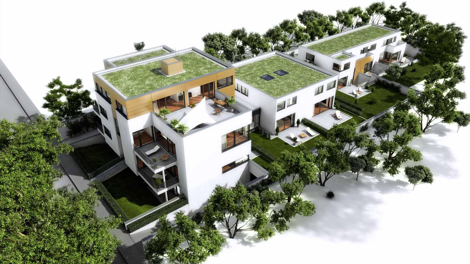 3D Visualisierung Architekturvisualisierung Vogelperspektive Luxusimmobilie Koeln Holunderweg