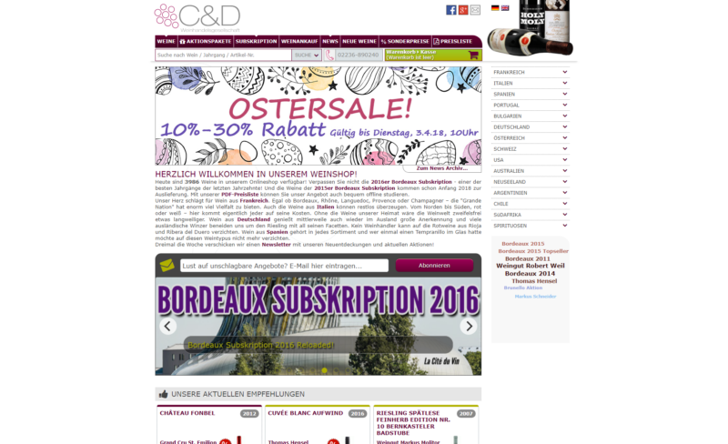 Website Webshop E-Commerce C&D Weinhandelsgesellschaft mbH
